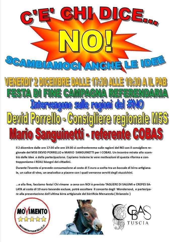 Trevignano, gli amici di Beppe Grillo organizzano evento per il no al referendum