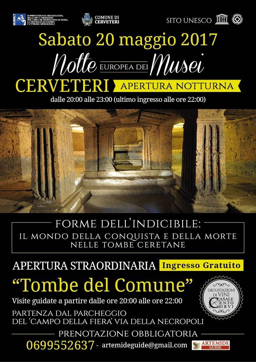 Notte Europea dei Musei: sabato 20 maggio apertura straordinaria in notturna della Necropoli della Banditaccia e del Museo Nazionale Cerite