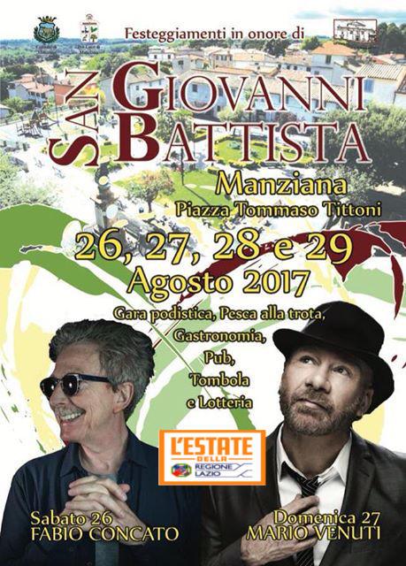 Fine settimana a Manziana: Fabio Concato e Mario Venuti in concerto per le festività patronali