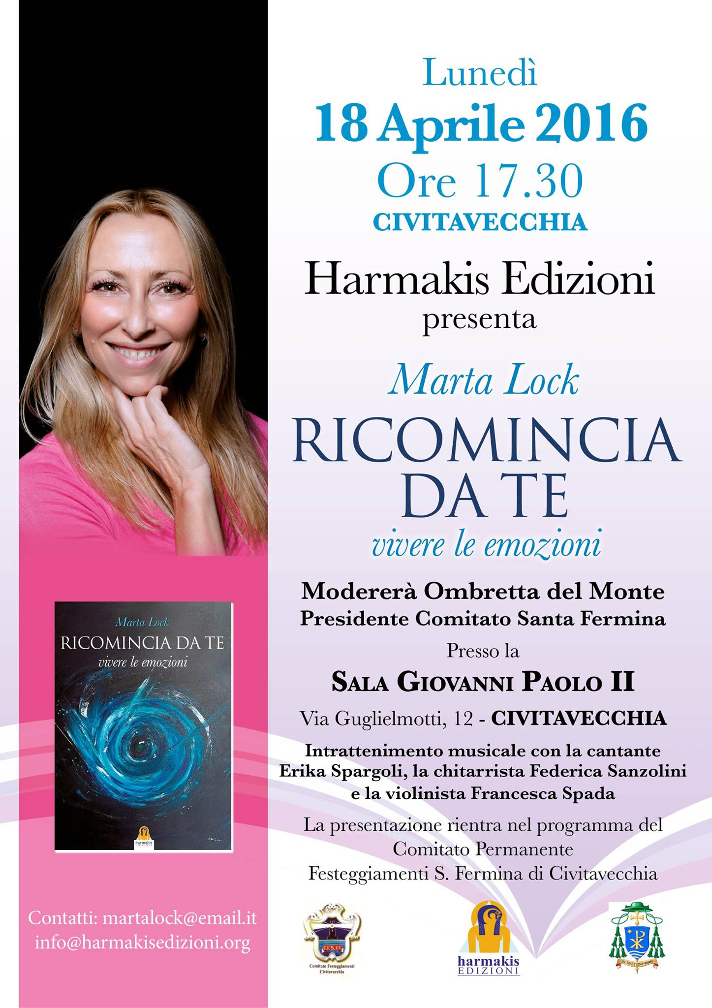 """Civitavecchia, il 18 aprile la presentazione di """"Ricomincia da te"""" di Marta Lock"""