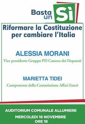 """Allumiere, domani l'iniziativa per il Sì al referendum con Alessia Morani e Marietta Tidei: """"Riformare la Costituzione per cambiare l'Italia"""""""