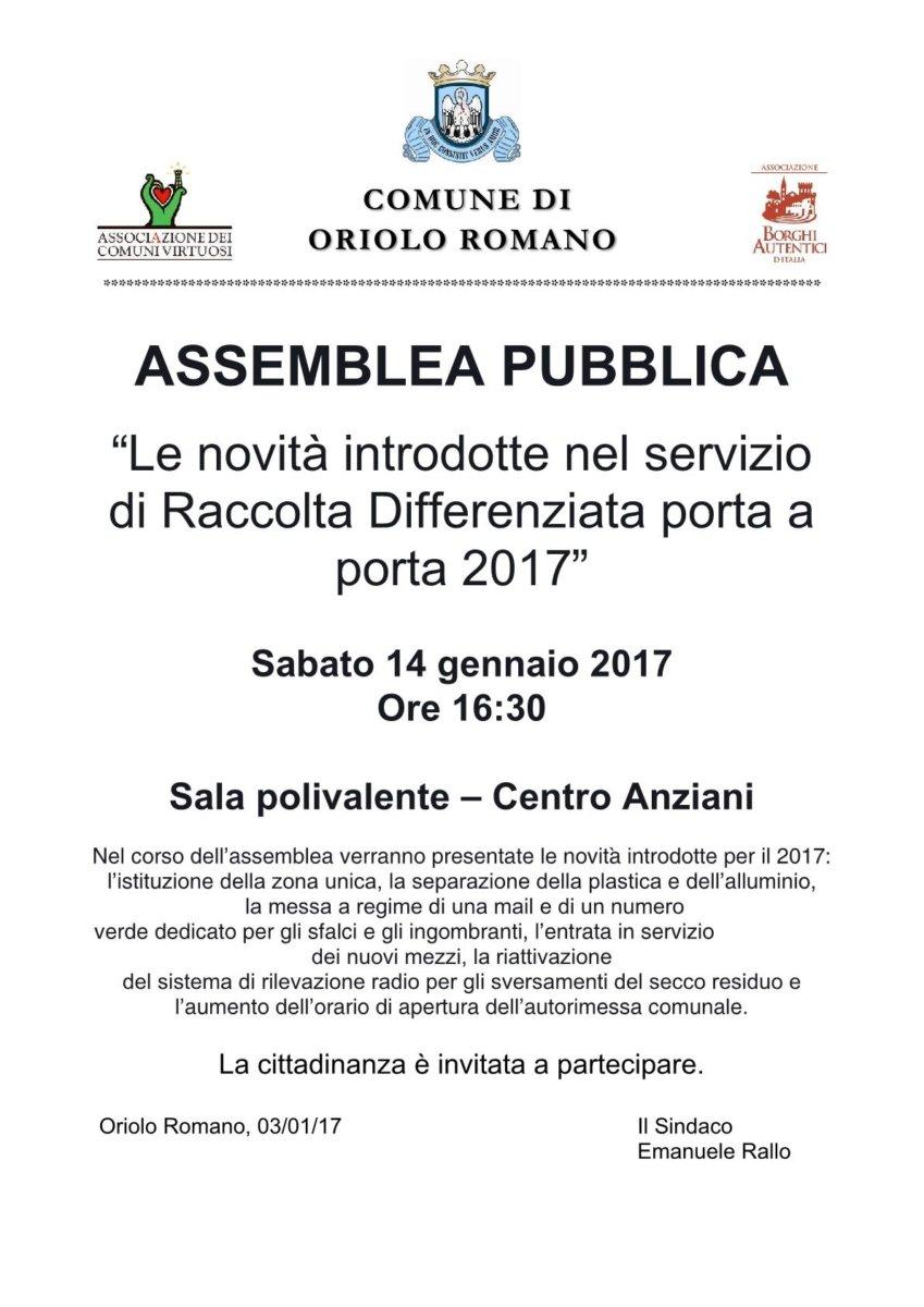 Oriolo Romano: assemblea pubblica sulla raccolta differenziata 2017