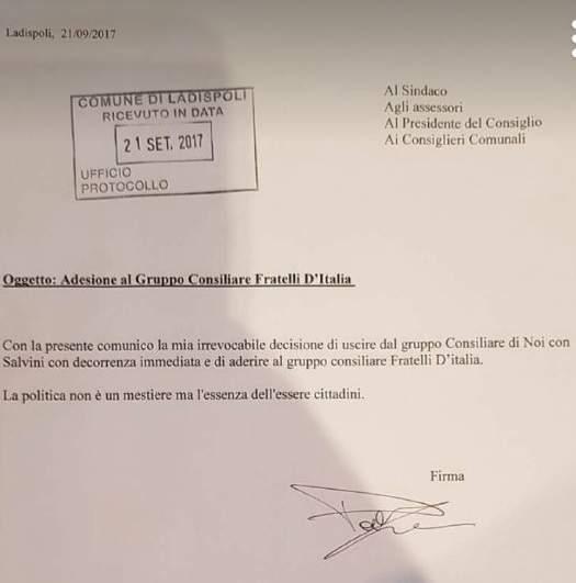 """Ladispoli, Falasca: """"Tardiva l'espulsione comunicata da Quintavalle"""""""
