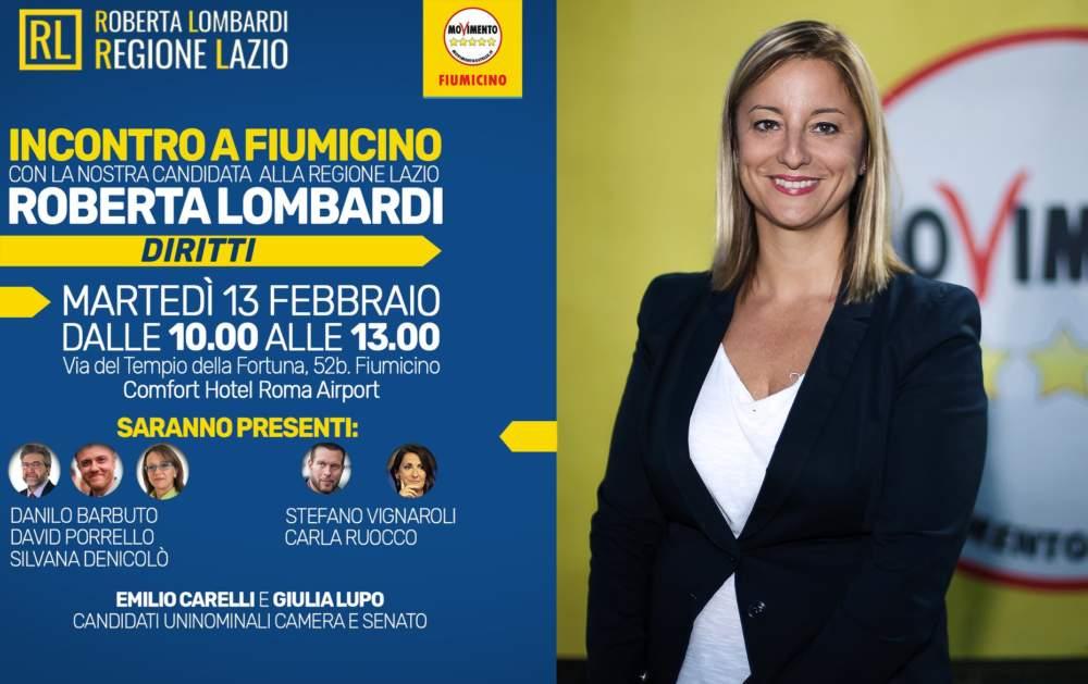 Roberta Lombardi a Fiumicino per incontrare i cittadini