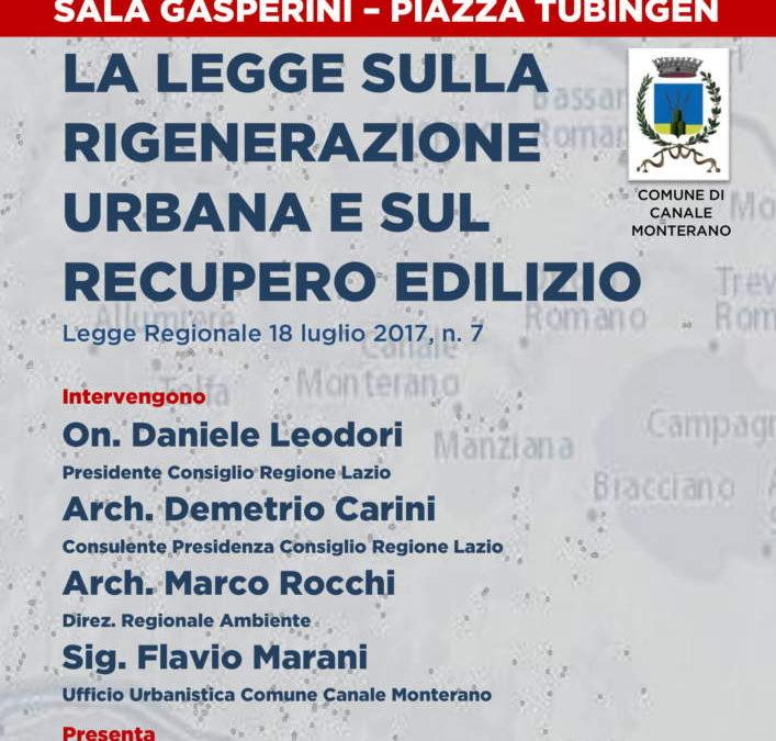 Canale Monterano: Regione e Amministrazione comunale illustrano la Legge di Rigenerazione Urbana