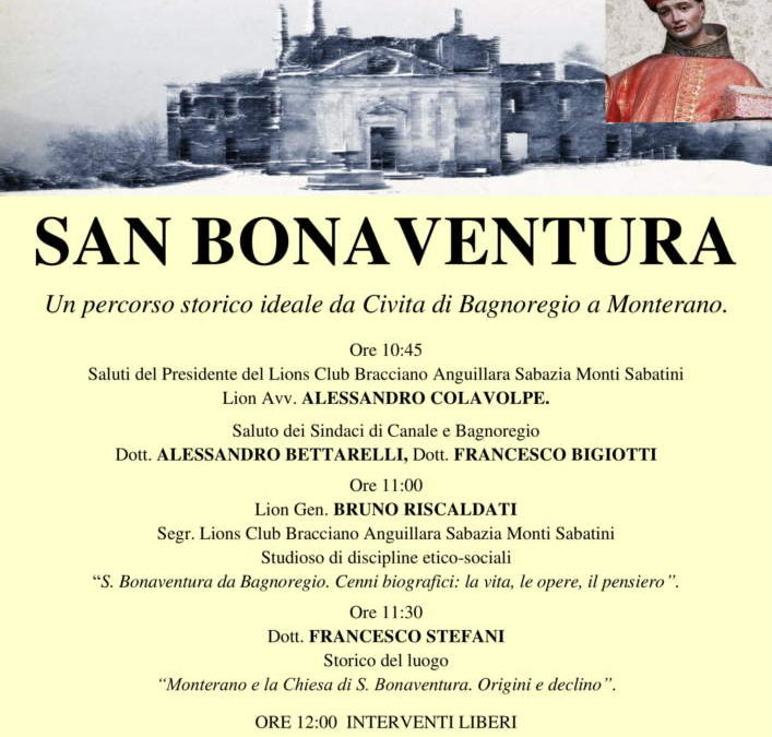 Canale Monterano: sabato 24 marzo incontro su San Bonaventura organizzato dai Lions