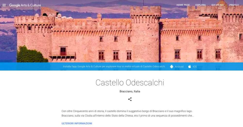 Il castello di Bracciano entra in Google Arts and Culture