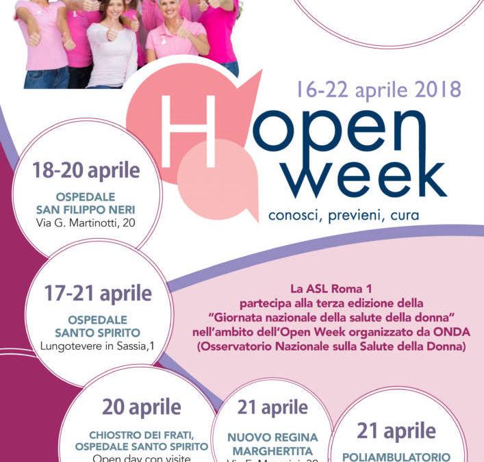 """""""Chiedi, conosci, previeni"""", la ASL Roma 1 aderisce all'Open Week ONDA"""