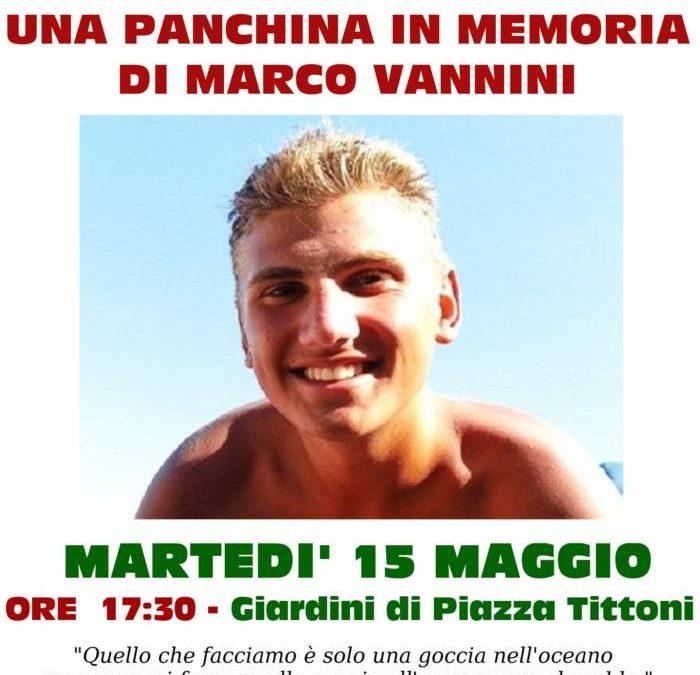 A Manziana una panchina in memoria di Marco Vannini