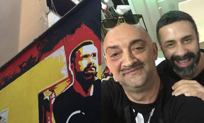 Luca Tommassini alla Pineta Sacchetti: per il suo compleanno l'incontro al murale di David Pompili