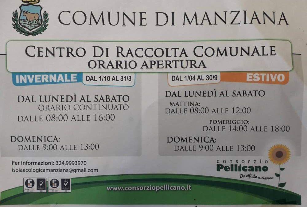 Manziana, in vigore l'orario estivo del centro raccolta rifiuti di via Canale