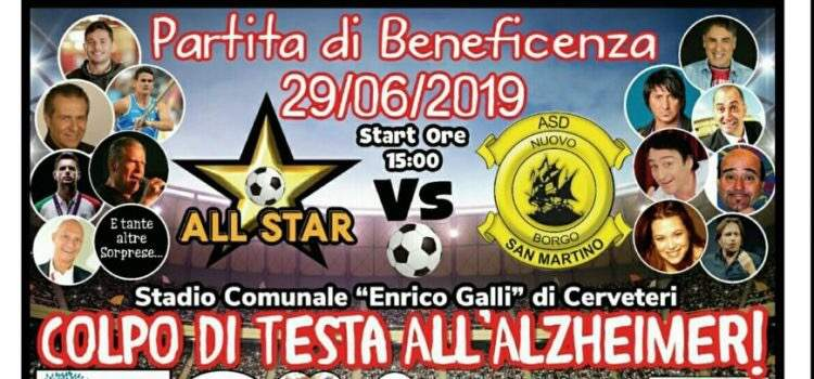 Cerveteri, per Giammy la partita fra Borgo San Martino e All Star. Presente Cèsar