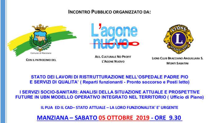 Il 5 ottobre a Manziana incontro pubblico dedicato alla sanità locale