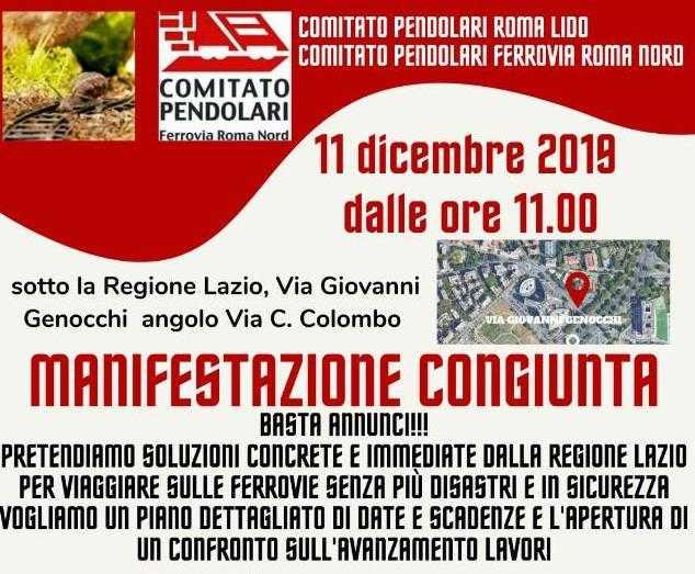 Manifestazione Pendolari Ferrovia Roma Nord e Roma Lido: appuntamento l'11 dicembre in via Giovanni Genocchi