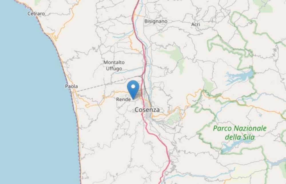 Terremoto a Rende in provincia di Cosenza oggi 24 febbraio