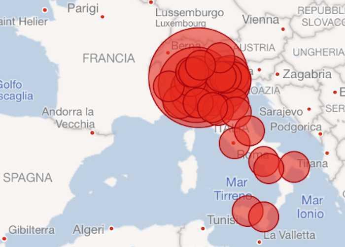 Cartina Italia Civitavecchia.Coronavirus La Mappa Dei Contagi In Italia E Nel Mondo Terzo Binario News