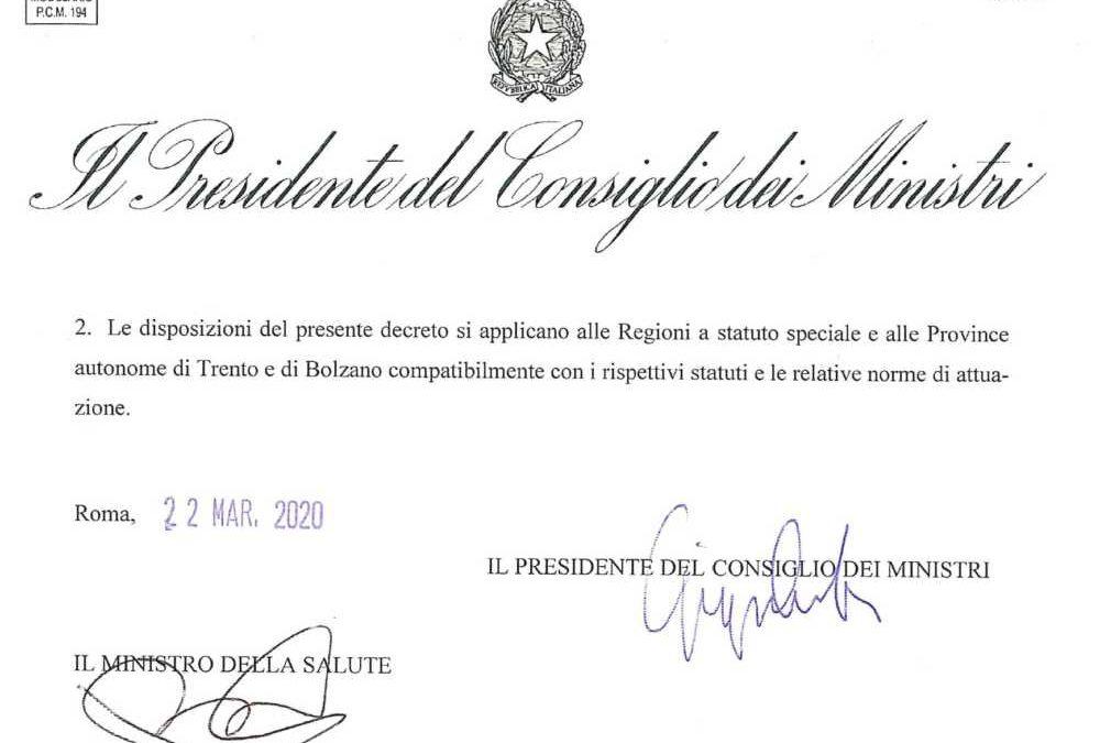 Firmato il nuovo decreto: ecco il testo