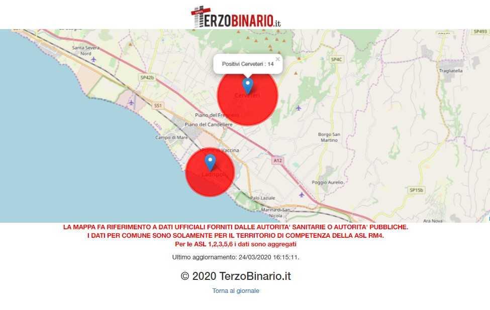 Covid-19 a Cerveteri e Ladispoli: i casi aggiornati ad oggi 24 marzo